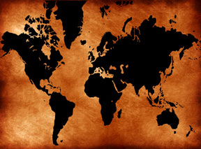 black and orange world map